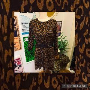 Laura Ashley Leopard Print Knit Dress size L